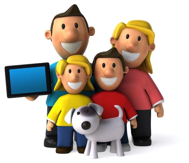 Lustige illustrierte familie und ihr hund
