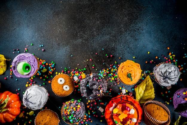 Lustige kinder cupcakes für halloween