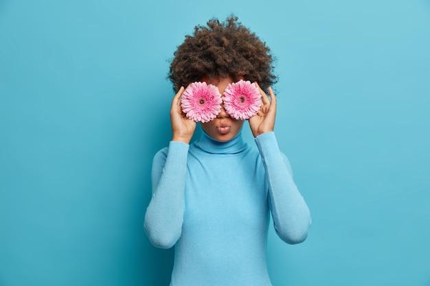 Lustige lockige junge frau bedeckt die augen mit rosa gerbera-gänseblümchen, macht blumenstrauß und bestes natürliches geschenk für freund, trägt blauen rollkragenpullover. floristenkarriere. schöne blüte, angenehmer duft