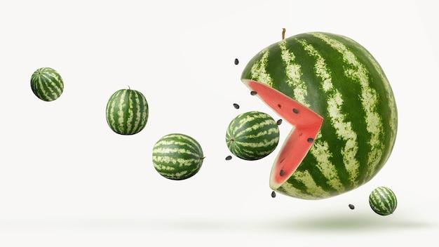 Lustige pacman-wassermelone auf weißem hintergrund
