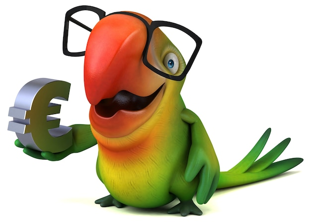 Lustige papageienillustration