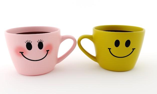 Lustige tasse lächelt auf weiß isoliert