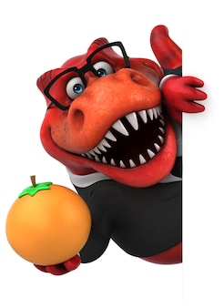 Lustige trex 3d-illustration, die orange frucht hält