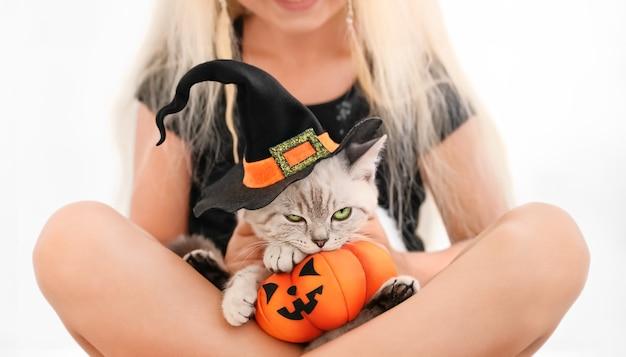 Lustige verärgerte schottische katze im halloween-hexenhut und spielzeugkürbis in den armen eines mädchens