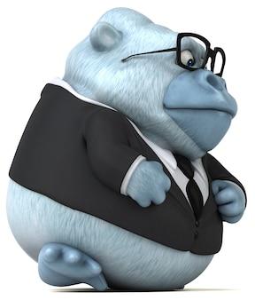Lustige weiße gorilla-animation