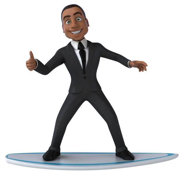 Lustiger 3d-cartoon-geschäftsmann beim surfen