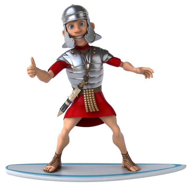 Lustiger 3d-cartoon römischer soldat beim surfen