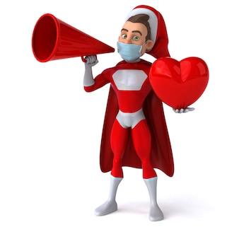 Lustiger 3d-charakter eines cartoon-weihnachtsmanns mit maske