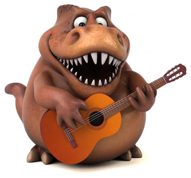 Lustiger 3d dinosauriercharakter, der die gitarre spielt