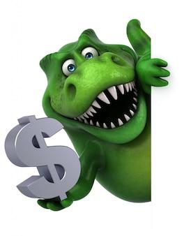 Lustiger 3d dinosauriercharakter, der ein dollarzeichen hält
