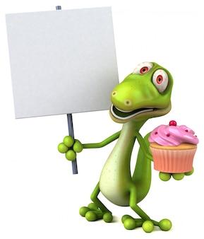 Lustiger 3d eidechsencharakter, der eine tasse kuchen und ein plakat hält