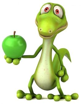 Lustiger 3d eidechsencharakter, der einen grünen apfel hält