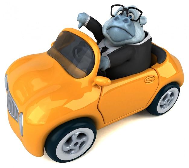 Lustiger 3d fetter gorilla-charakter, der ein auto fährt, das daumen nach unten zeigt