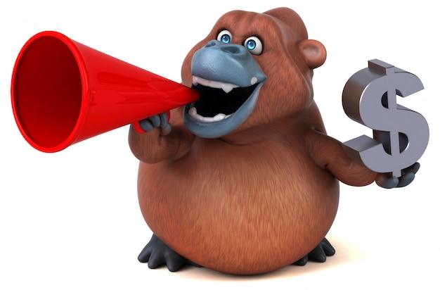 Lustiger 3d gorilla charakter, der ein megaphon und ein dollarzeichen hält