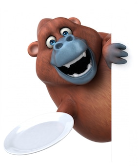 Lustiger 3d gorilla charakter, der eine platte hält