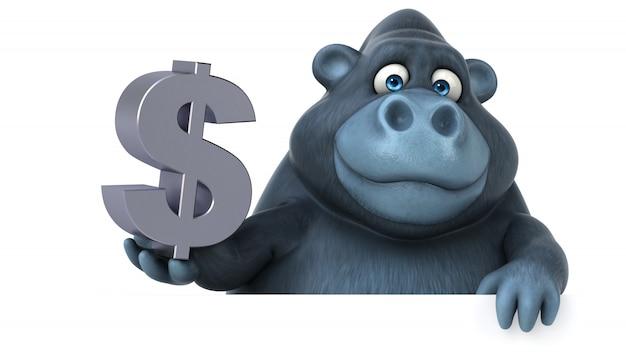 Lustiger 3d gorilla, der ein dollarzeichen hält