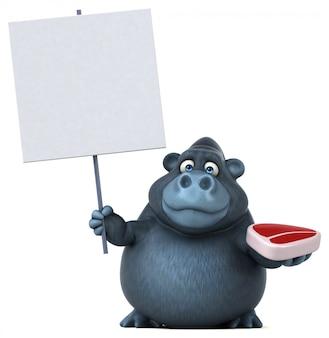 Lustiger 3d gorilla, der ein plakat und ein stück fleisch hält