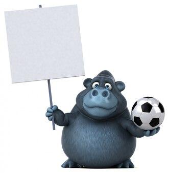 Lustiger 3d gorilla, der ein plakat und einen fußball hält