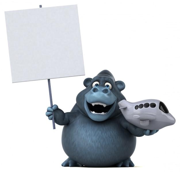 Lustiger 3d gorilla, der ein spielzeugflugzeug und ein plakat hält