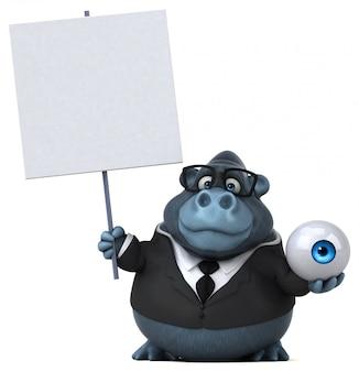 Lustiger 3d gorilla, der ein übergroßes auge und ein plakat hält