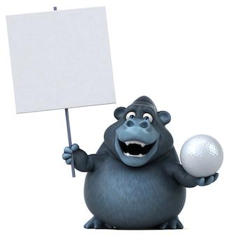 Lustiger 3d gorilla, der einen golfball und ein plakat hält