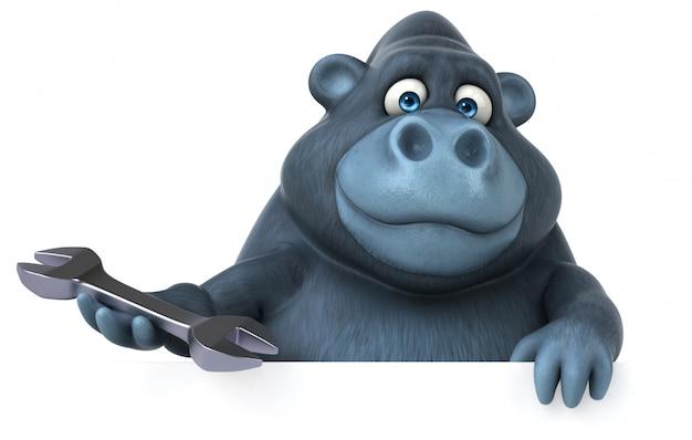 Lustiger 3d gorilla, der einen schraubenschlüssel und ein plakat hält