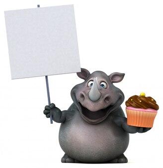 Lustiger 3d nashorncharakter, der plakat und eine tasse kuchen hält