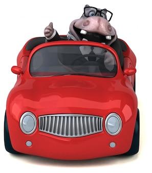 Lustiger 3d nilpferdcharakter, der ein auto fährt