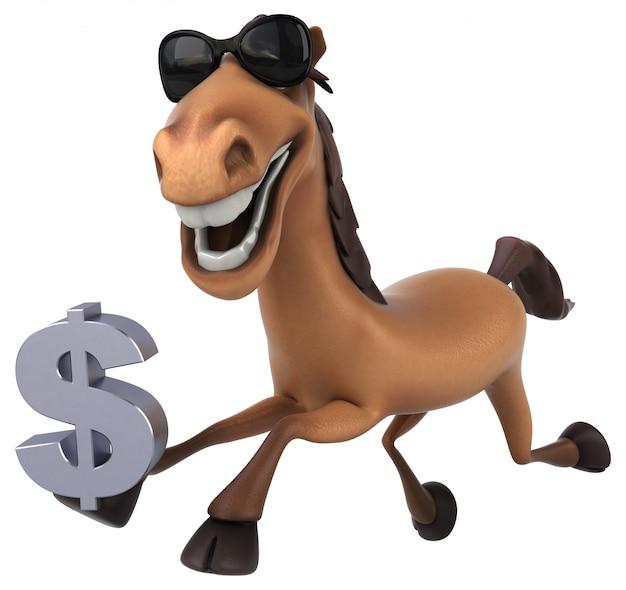 Lustiger 3d pferdecharakter, der ein dollarzeichen hält