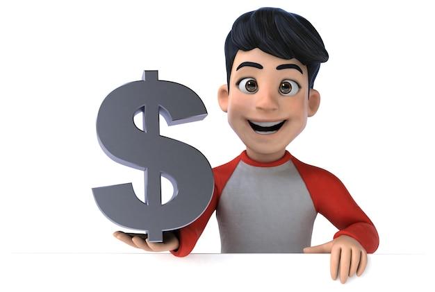 Lustiger asiatischer teenager des 3d, der dollarzeichen hält