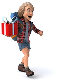 Lustiger backpacker-cartoon-typ