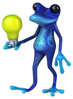 Lustiger blauer frosch - 3d-illustration