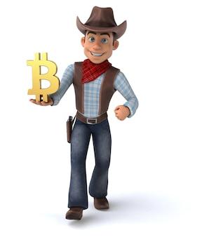 Lustiger cowboy - 3d-illustration