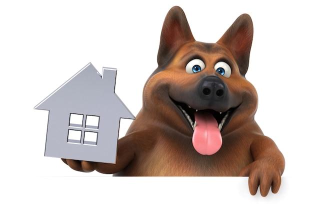 Lustiger deutscher schäferhund - 3d-illustration