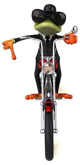 Lustiger frosch auf einem motorrad - 3d-illustration