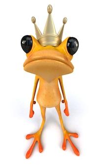 Lustiger frosch, der eine goldene krone auf seinem kopf hat