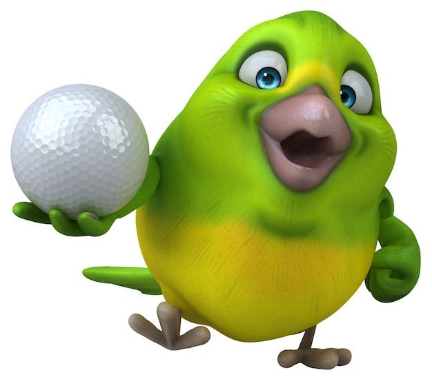 Lustiger grüner vogel - 3d-illustration