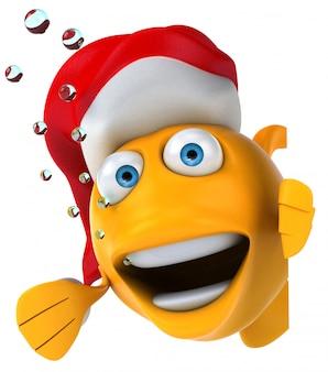 Lustiger illustrierter fisch mit weihnachtsmütze