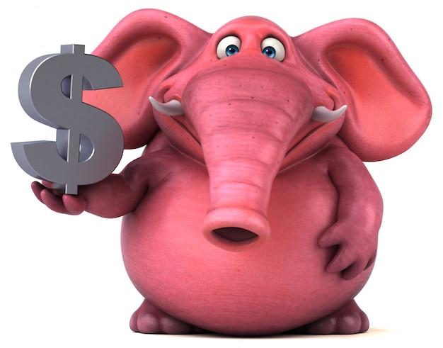 Lustiger illustrierter rosa elefant, der dollarzeichen hält