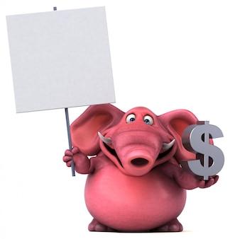 Lustiger illustrierter rosa elefant, der dollarzeichen und ein plakat hält