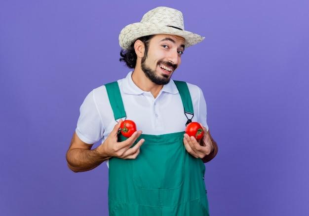 Lustiger junger bärtiger gärtnermann, der overall und hut hält, die frische tomaten betrachten, die vorne lächelnd fröhlich stehen über blaue wand schauen