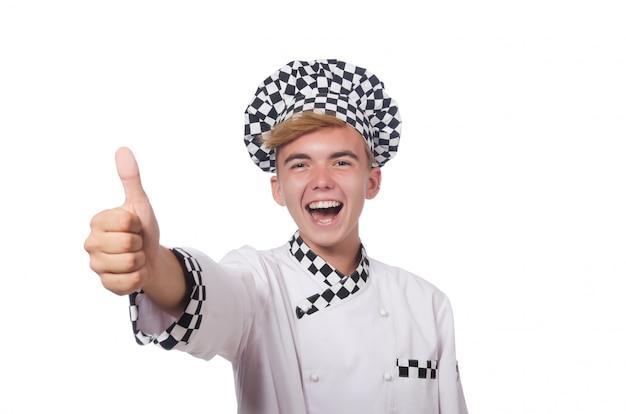 Lustiger koch getrennt auf weiß