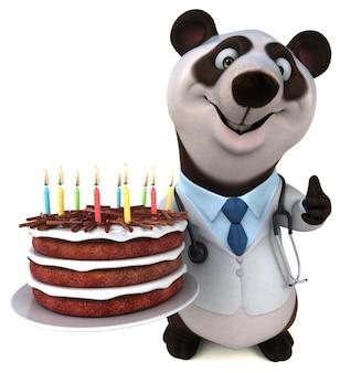 Lustiger panda - 3d-darstellung