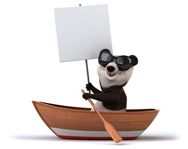 Lustiger panda auf boot mit plakat