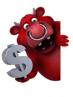 Lustiger roter stier 3d, der ein dollarzeichen hält
