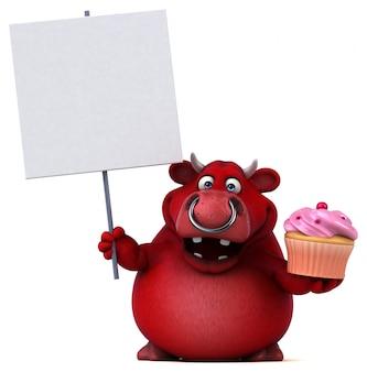 Lustiger roter stier 3d, der ein plakat und eine tasse kuchen hält