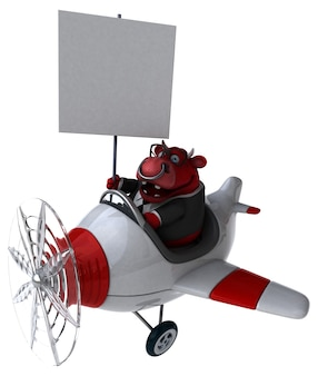Lustiger roter stier - 3d-illustration