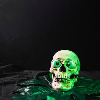Lustiger schädel, der vom grünen licht belichtet wird