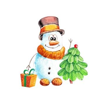 Lustiger schneemann in einem hut mit einem weihnachtsbaum und einem geschenk im aquarell.