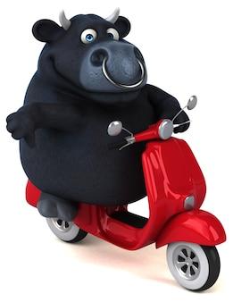 Lustiger schwarzer stier - 3d-illustration